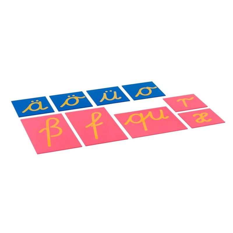 Sandpapierkleinbuchstaben - Ergänzungssatz für lateinische Ausgangsschrift (deutsche Sprache)