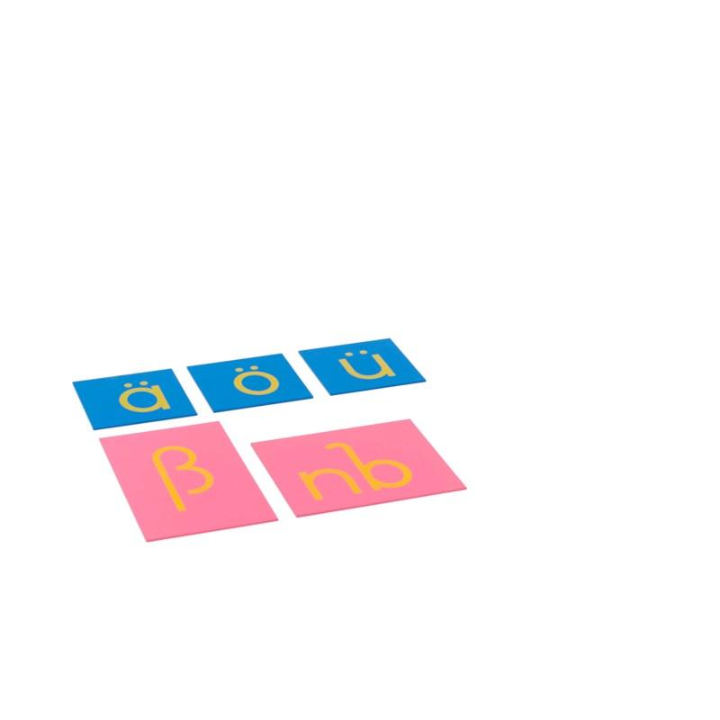 Sandpapierkleinbuchstaben - Ergänzungssatz für Druckschrift (deutsche Sprache)