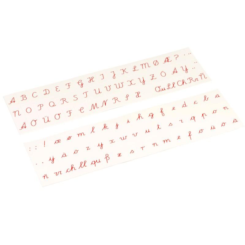 Aufgedruckte Buchstaben (rot) - lateinische Ausgangsschrift
