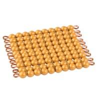 Goldquadrat, 10 x 10 goldene Perlen - Lose Perlen (Kunststoff)