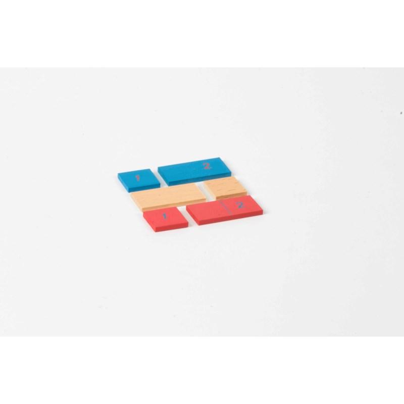 Streifen 1 + 2 für das Streifenbrett zur Addition / Subtraktion: rot / blau / natur