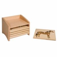 Kasten mit fünf Fächern für die Tierpuzzles
