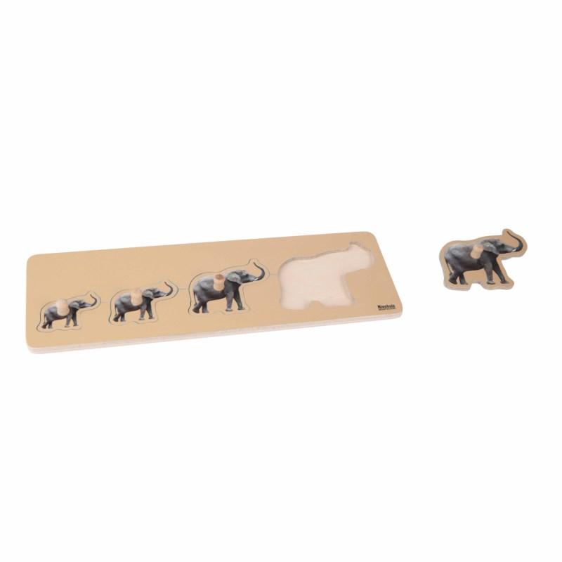 Kleinkindpuzzle - 4 Elefanten