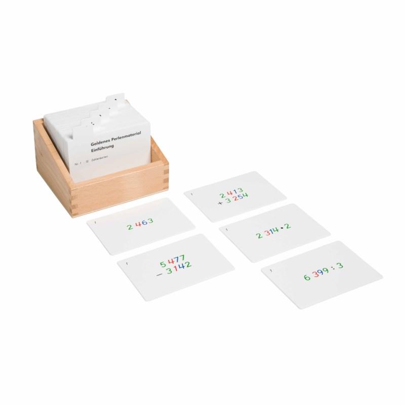 Kasten mit Aufgabenkarten für das goldene Perlenmaterial
