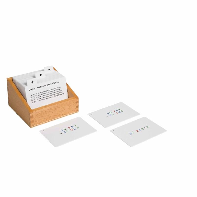 Kasten mit Aufgabenkarten für den großen Rechenrahmen