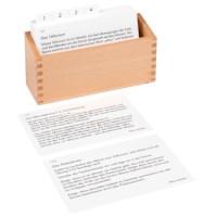 Kasten mit Aufgabenkarten für das Tellurium