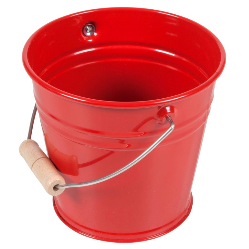 Metalleimer mit Holzgriff: rot