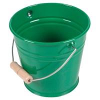 Metalleimer mit Holzgriff (grün)