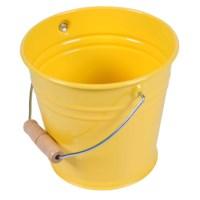 Metalleimer mit Holzgriff (gelb)