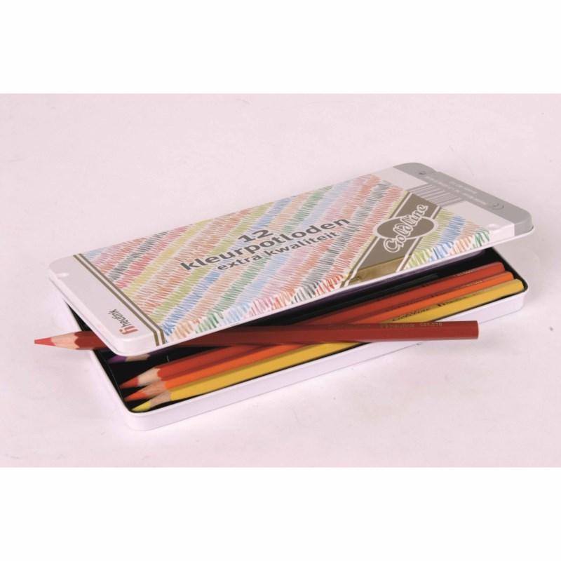 Buntstifte Hexagonal Goldline - Heutink - Karton mit 12 Stück - 12 Farben gemischt