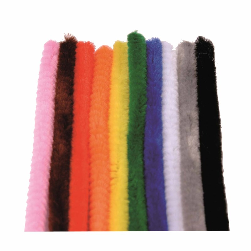 Chenille stem/ Modelling pipe cleaner - 100 meters, assorted 10 colours