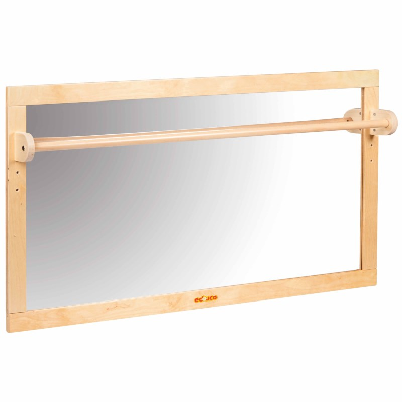 Mirror with wooden bar