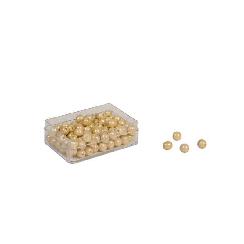 Plastikdose mit 100 goldenen Einerperlen: Lose Perlen, Glas (mit Loch)