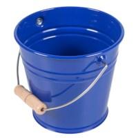 Metalleimer mit Holzgriff: blau