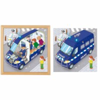 Puzzle in 2 Schichten - Polizeiauto