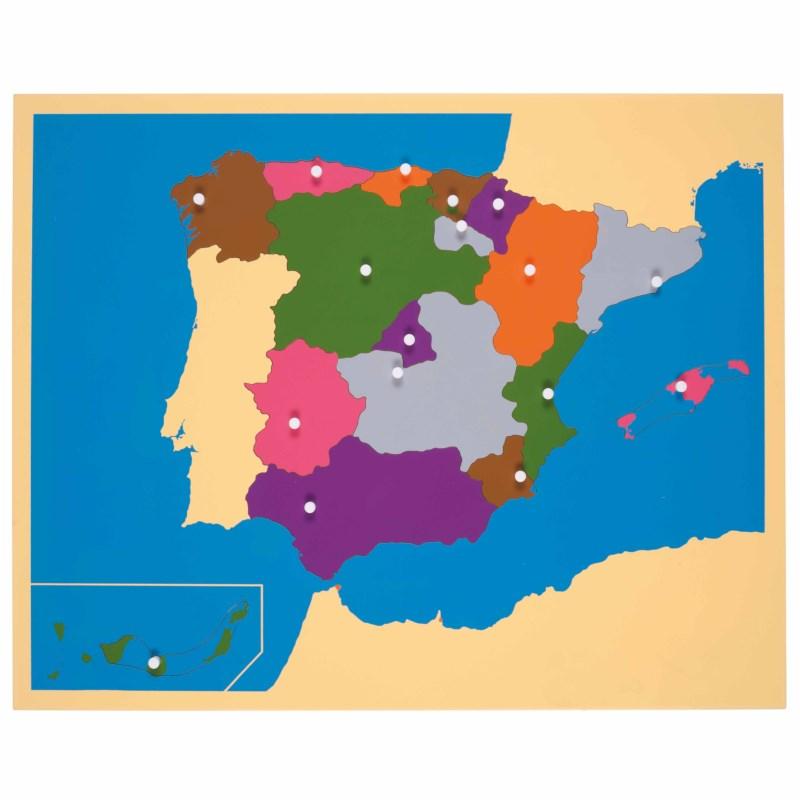 Map Of Spain For Children.Puzzle Map Spain Nienhuis Montessori
