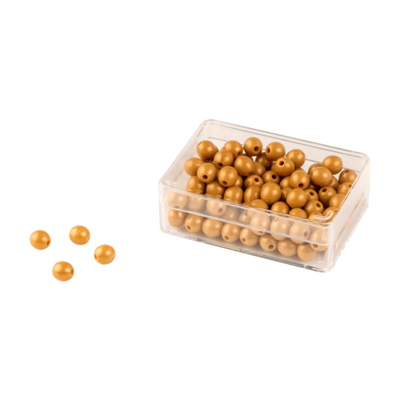 100 Golden Bead Units: Individual Beads Nylon (with hole)