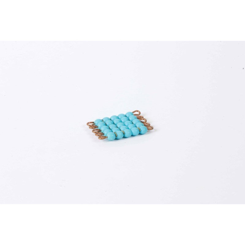 Individual Glass Bead Square Of 5: Light Blue