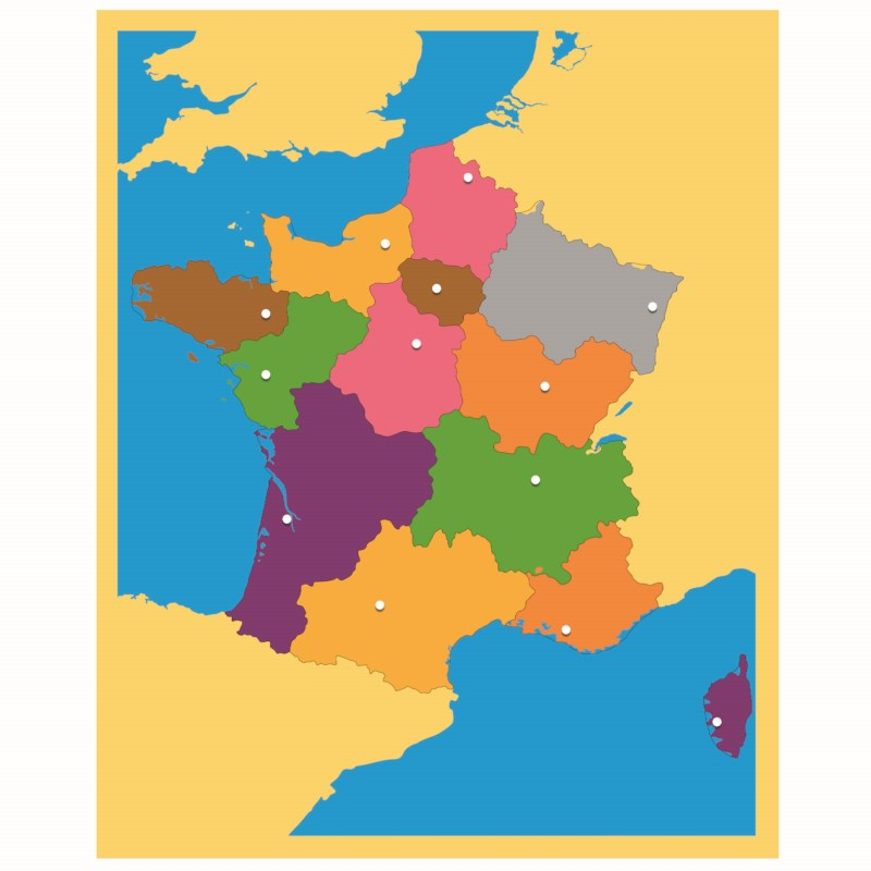 Map Of France For Children.Puzzle Map France