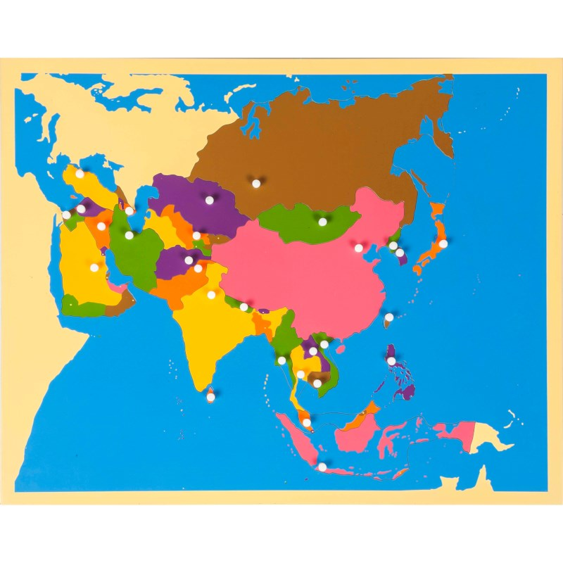 Geography Map Of Asia.Puzzle Map Asia Nienhuis Montessori