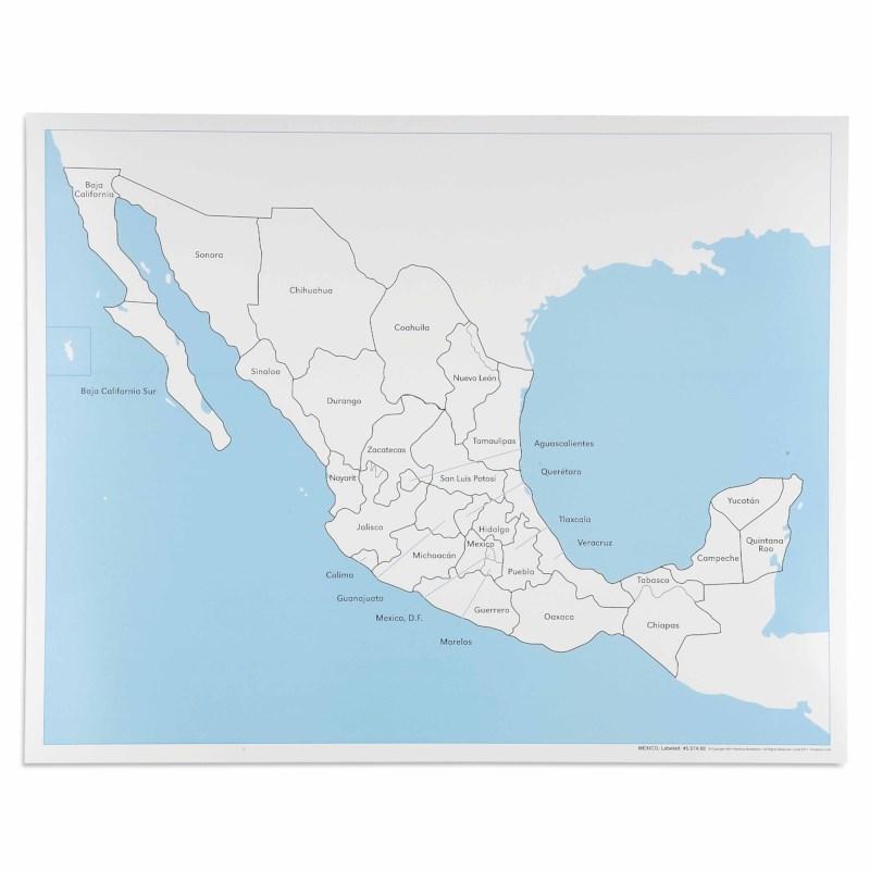 Mexico Control Map Labeled Nienhuis Montessori