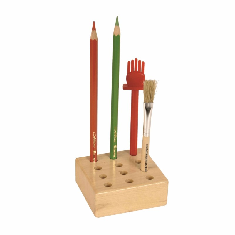 12 Hole Storage Block: For Pencils And Glue Brushes